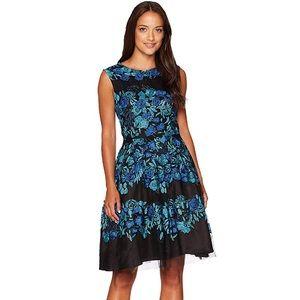 Tahari Women's Petite Cap Sleeve Emb Lace Dress